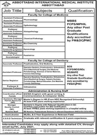 Abbottabad International Medical Institute Faculty Jobs