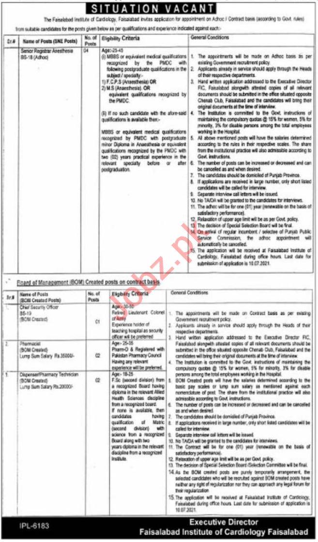 Faisalabad Institute of Cardiology FIC Faisalabad Jobs 2021