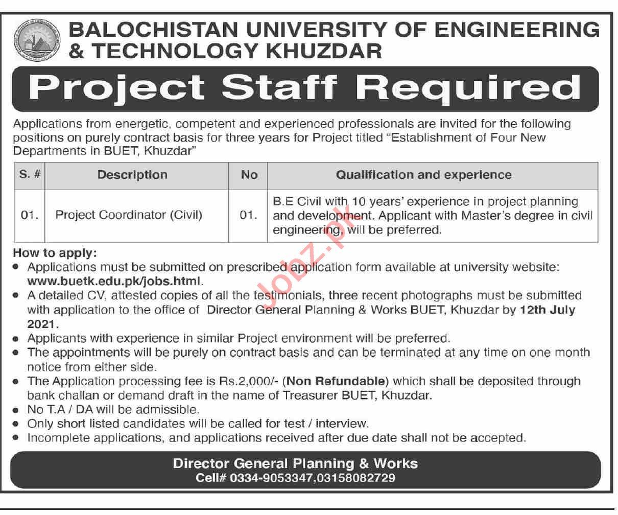 Balochistan University of Engineering & Technology BUET Jobs