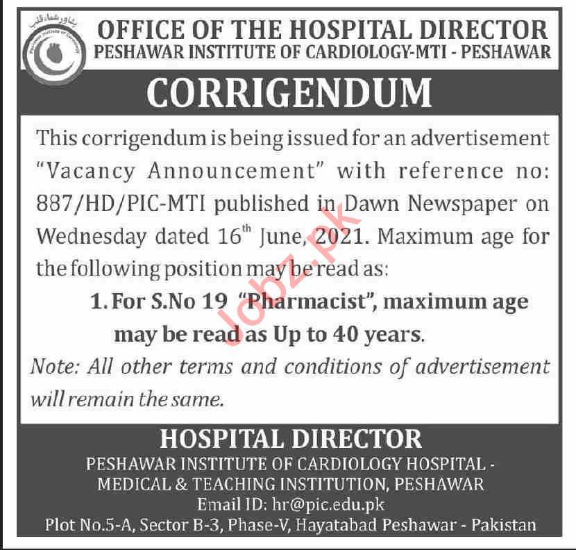 Peshawar Institute of Cardiology PIC Jobs 2021 Pharmacist