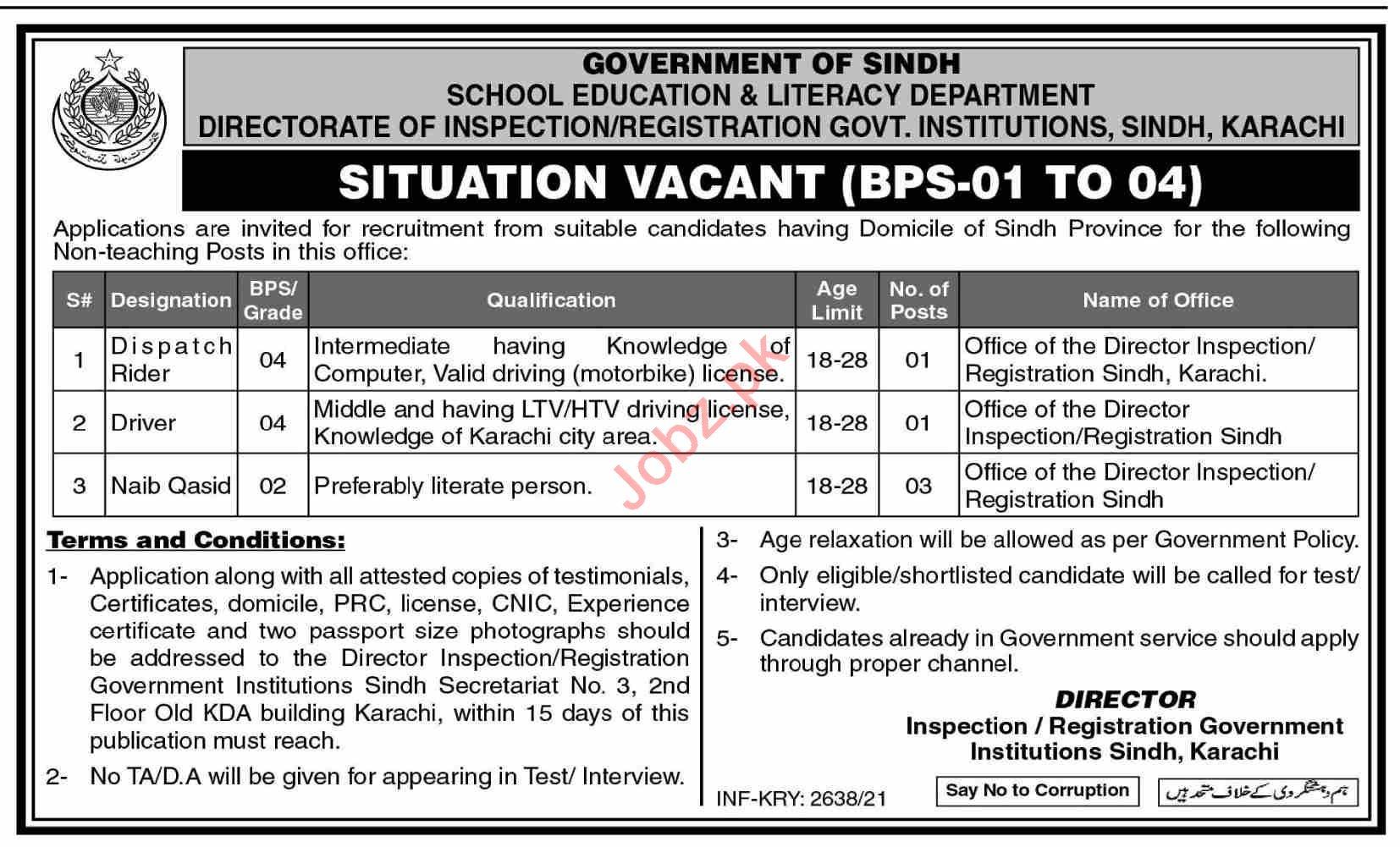 Directorate Inspection & Registration Govt Institutions Jobs