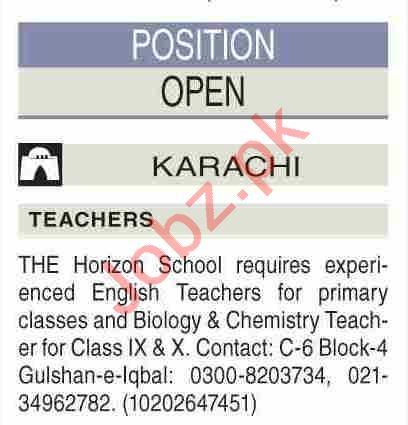 The Horizon School Karachi Jobs 2021 for Teachers