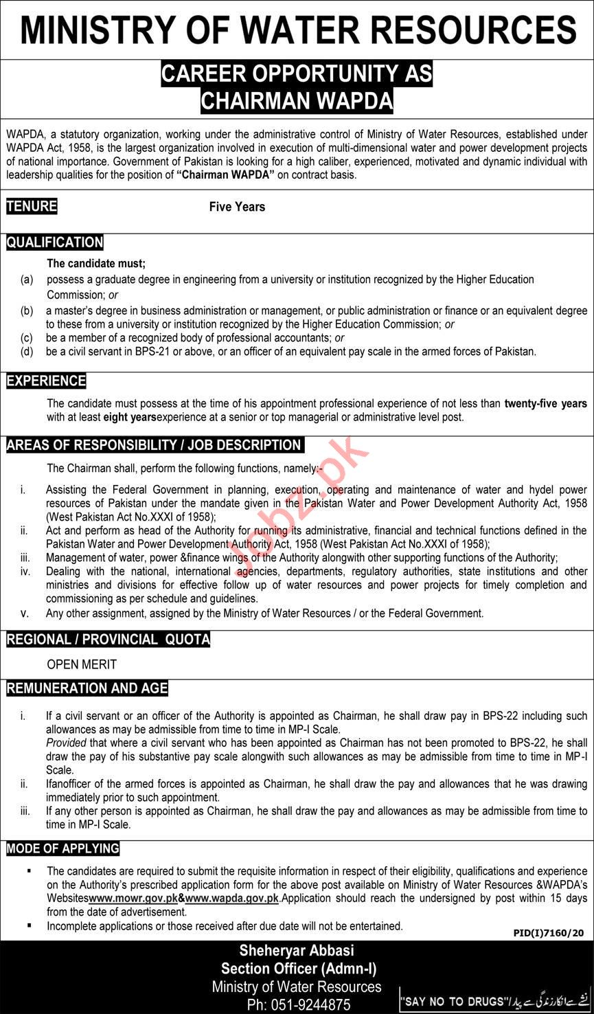 Ministry of Water Resources WAPDA Jobs 2021 for Chairman