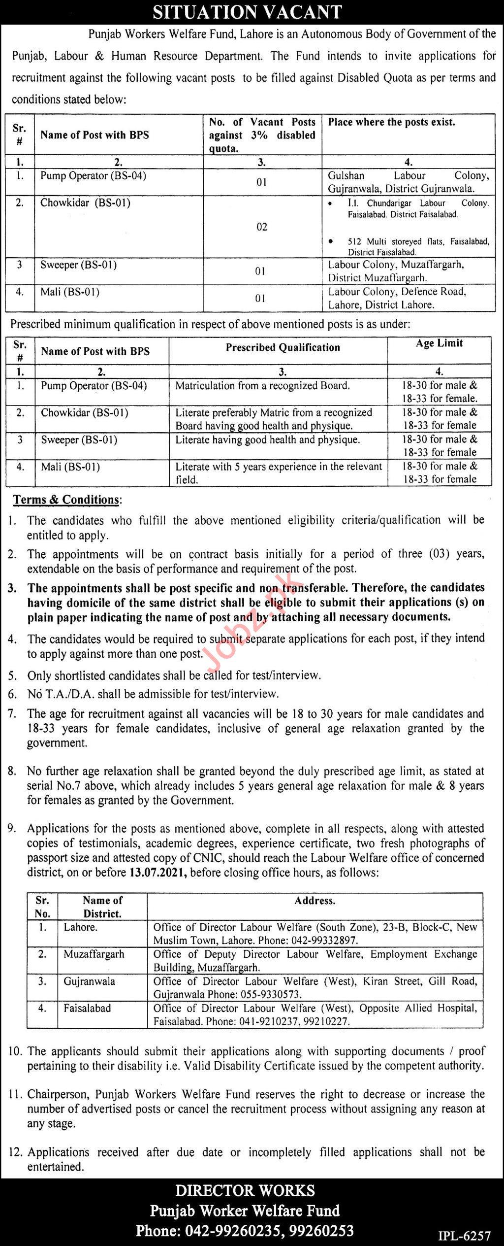 Punjab Workers Welfare Fund PWWF Lahore Jobs 2021