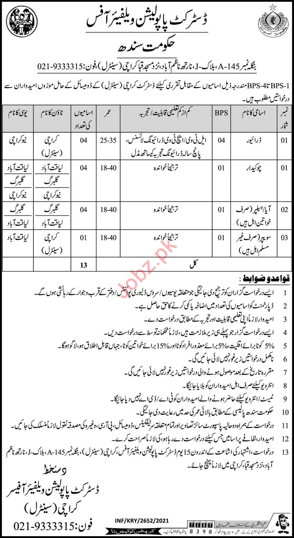 District Population Welfare Karachi Jobs 2021 for Chowkidar