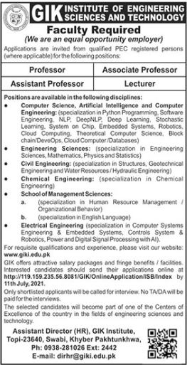 GIK Institute of Engineering Science & Technology Jobs 2021