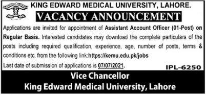 King Edward Medical University KEMU Lahore Jobs 2021
