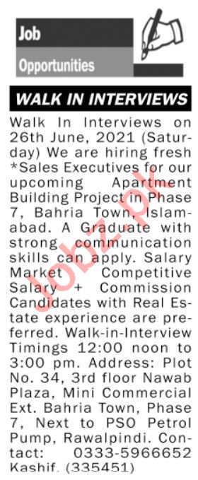 Sales Executive & Marketing Executive Jobs 2021 Rawalpindi
