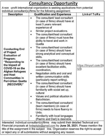 International Organization Jobs in Islamabad