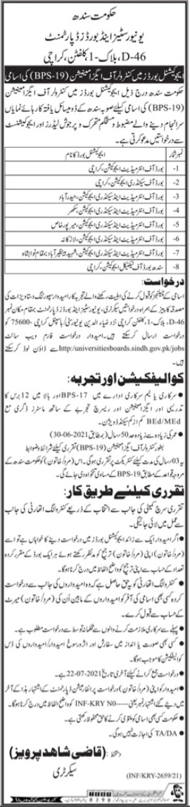 Sindh Boards Controller of Examinations Jobs 2021