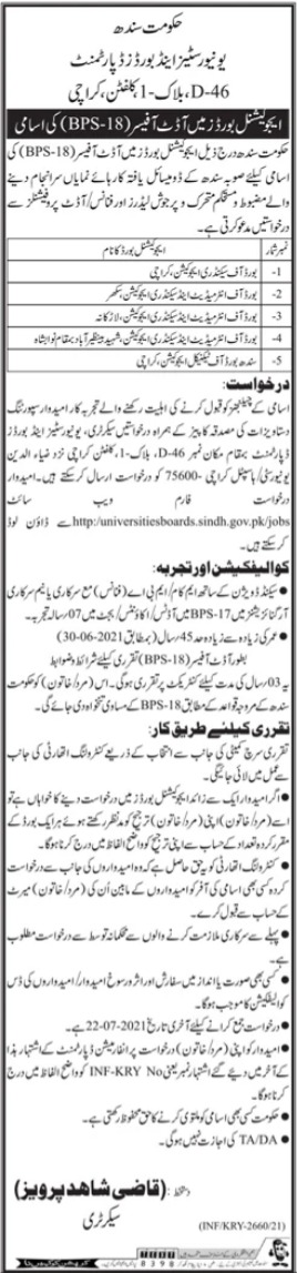 Audit Officer Jobs in Sindh Educational Boards
