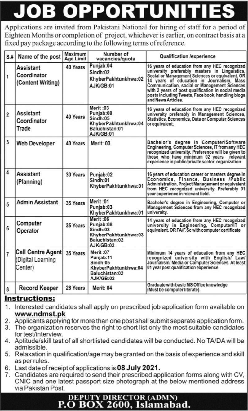 National Skills Development Program Pakistan NDMST Jobs 2021