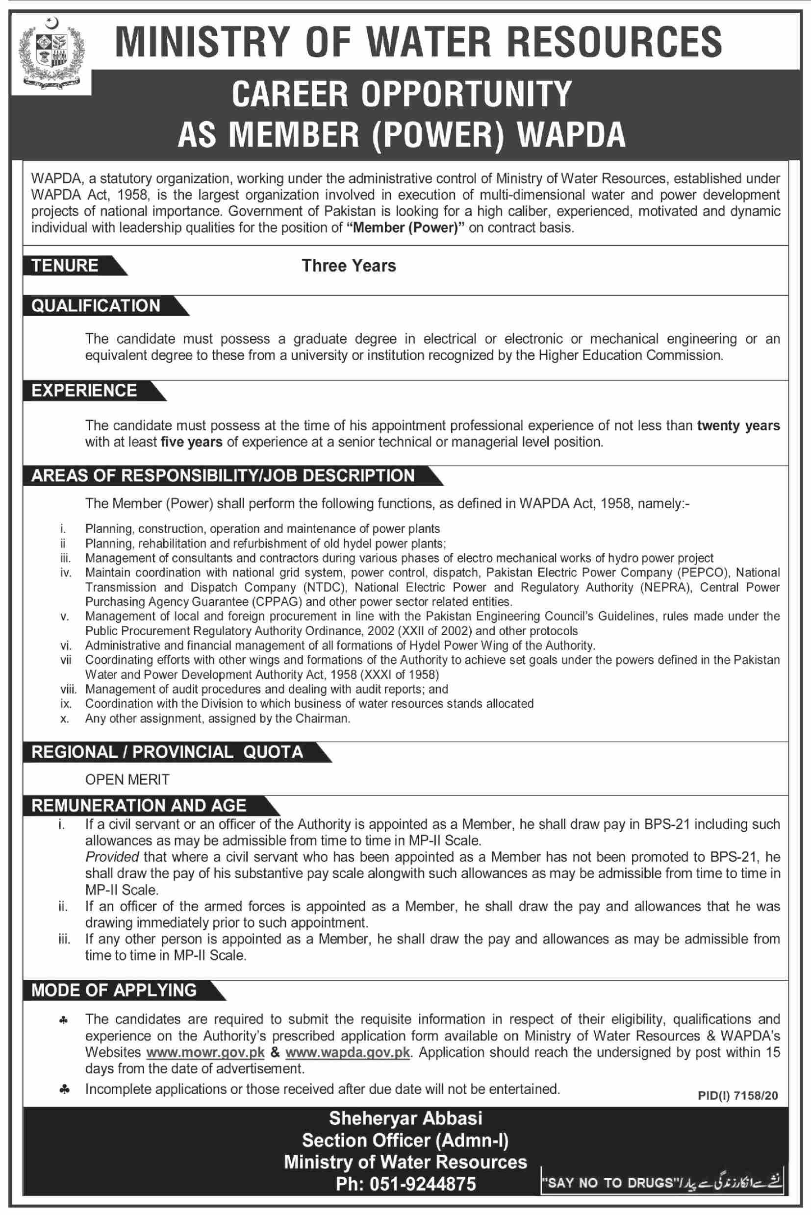 Ministry of Water Resources Power Member Jobs 2021