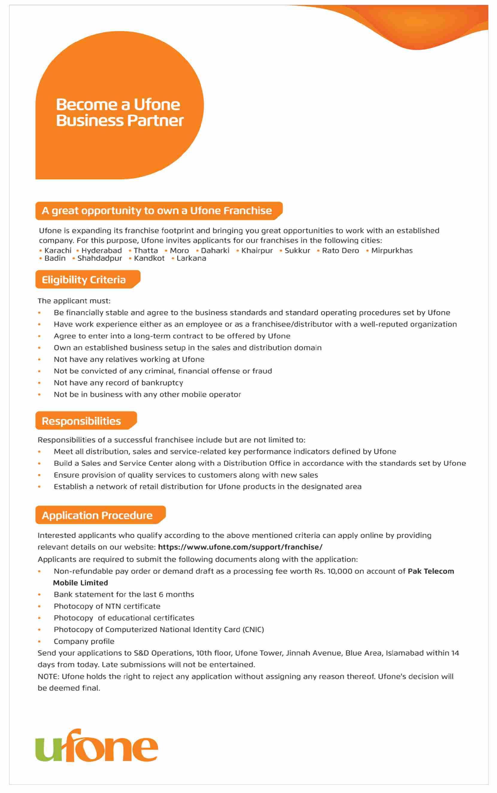 Business Partner Jobs in Ufone