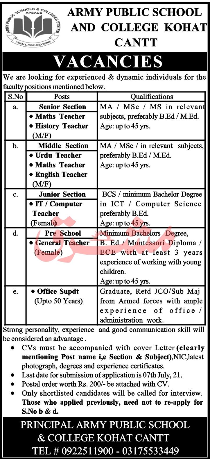 Army Public School & College Kohat Jobs 2021