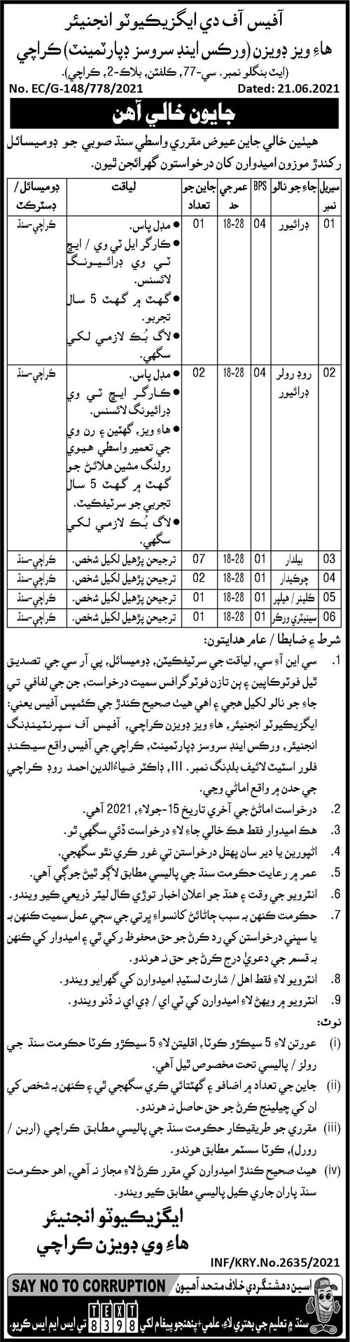 Highways Division Non Technical Staff Jobs 2021