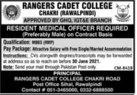 Rangers Cadet College Rawalpindi Jobs 2021