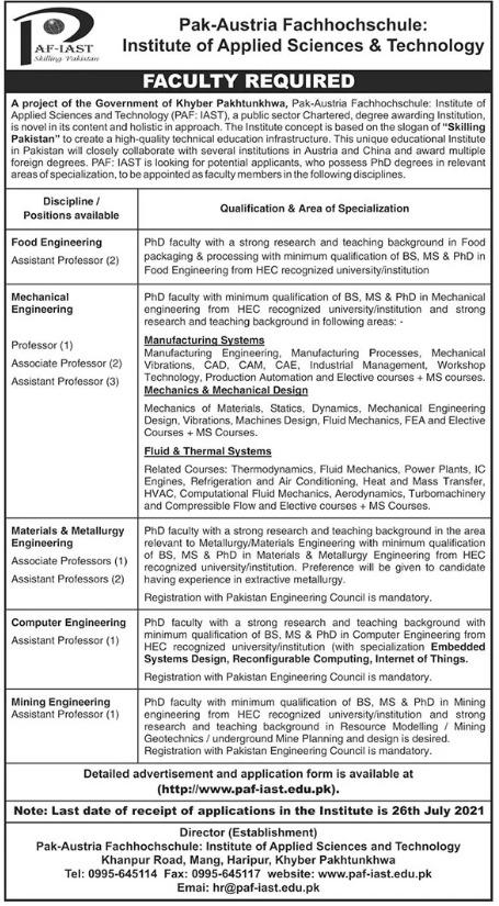 PAF-IAST Haripur Jobs 2021