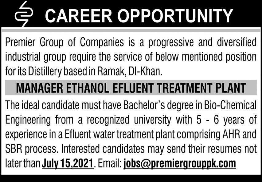 Premier Group of Companies Manager Ethanol Plant Jobs 2021