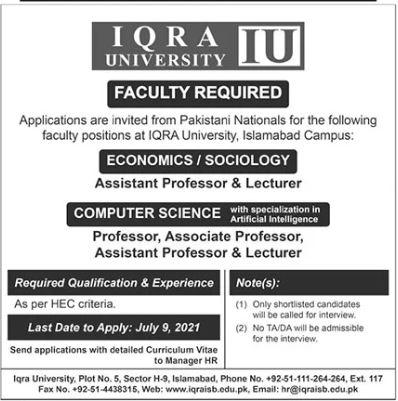 Iqra University IU Islamabad Jobs 2021