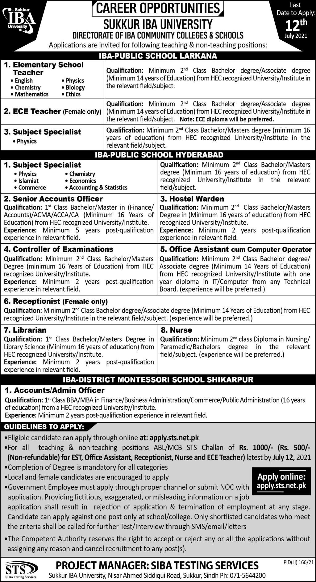 Teaching & Non Teaching Staff Jobs in Sukkur IBA University