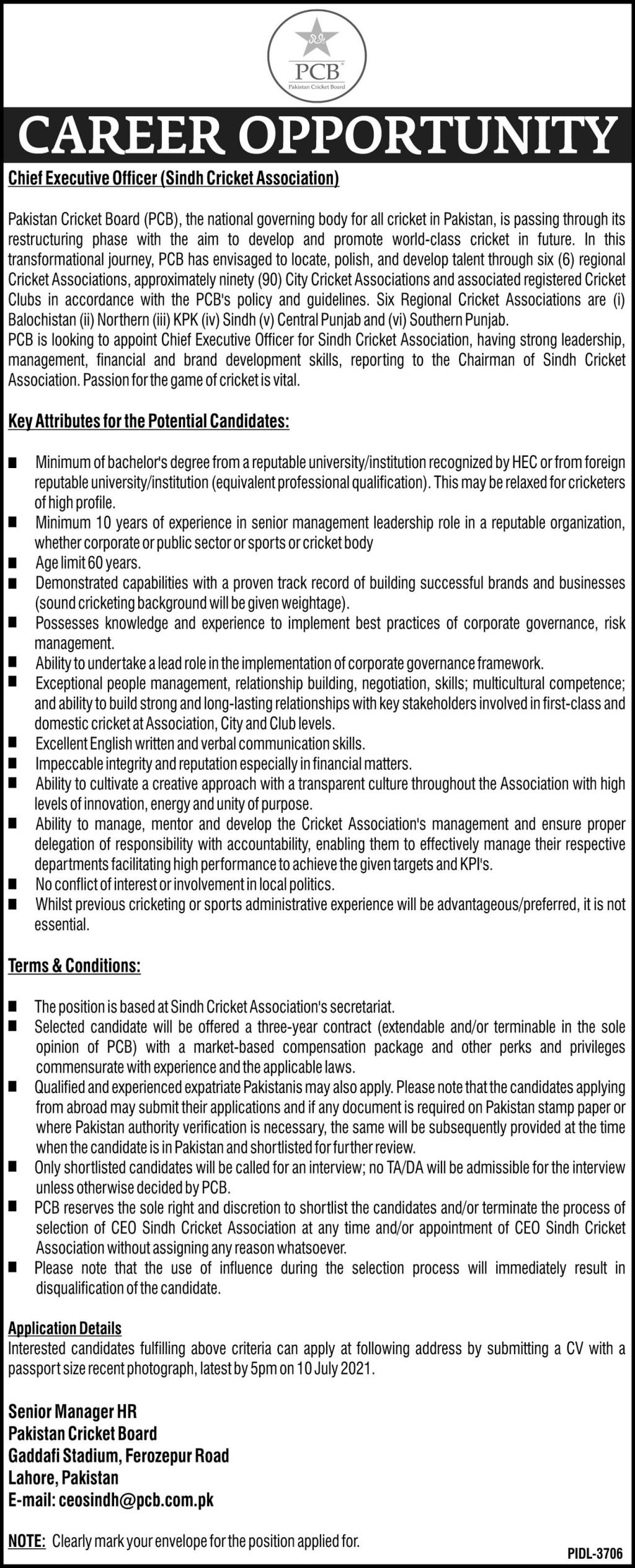 Chief Executive Officer Jobs in PCB Pakistan Cricket Board