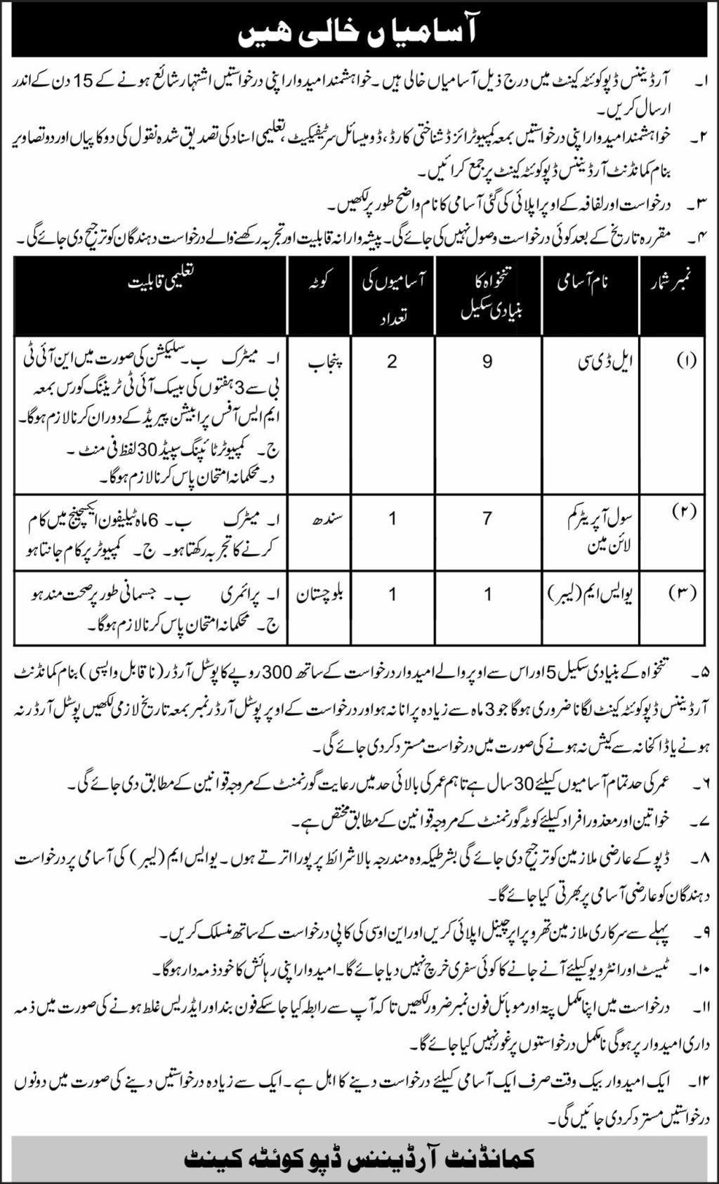 Managementy Jobs in Ordnance Depot Quetta