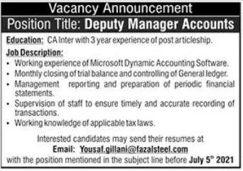 Fazal Steel Company Jobs 2021 in Islamabad