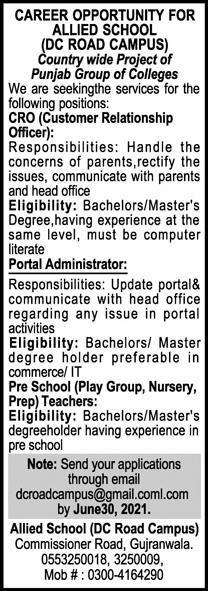 Allied Schools Non Teaching Staff Jobs 2021
