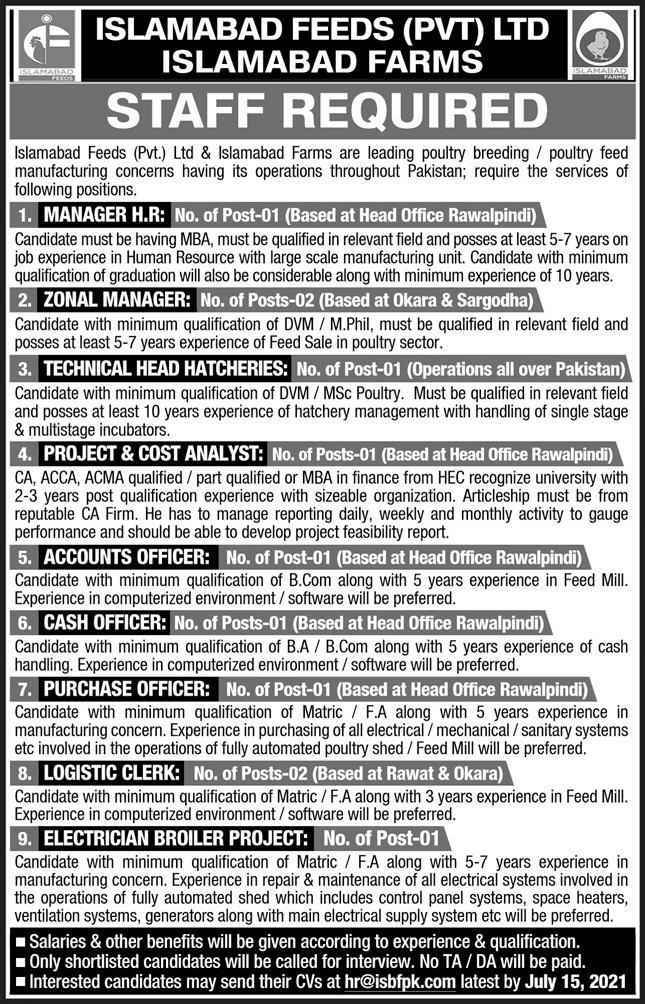 Islamabad Feeds Private Limited Management Jobs 2021
