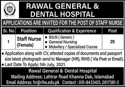 Staff Nurse Jobs in Rawal General & Dental Hospital