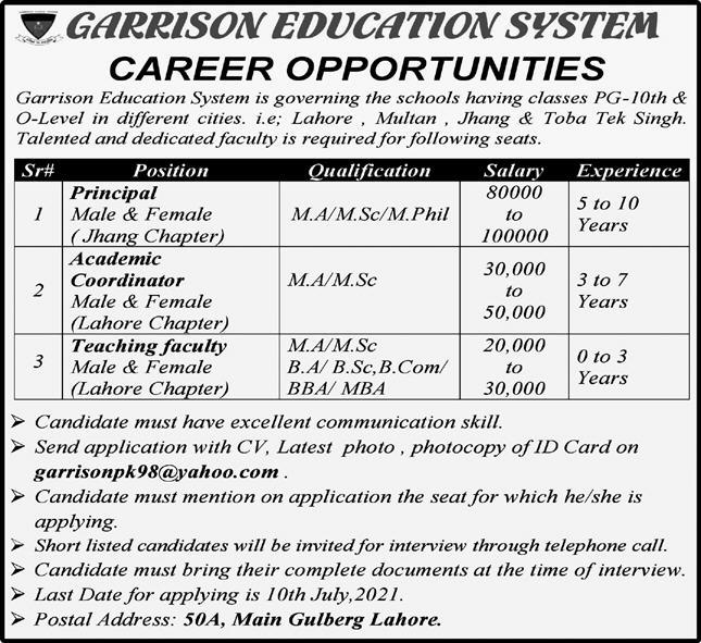 Teaching Staff Jobs in Garrison Education System