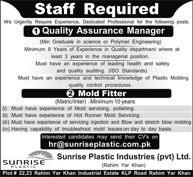 Technical Staff Jobs in Sunrise Plastic Industries
