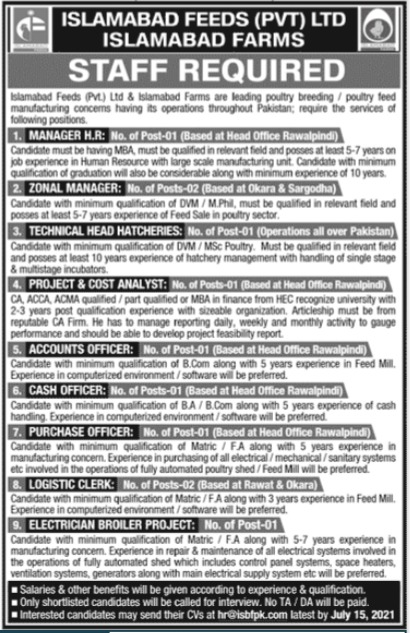 Islamabad Feeds Private Limited Jobs 2021