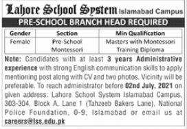 Lahore School System Jobs 2021 in Islamabad