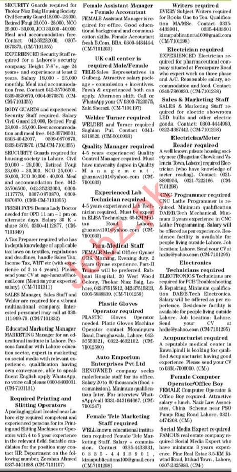 The News Sunday Classified Ads 27 June 2021 for Office Staff