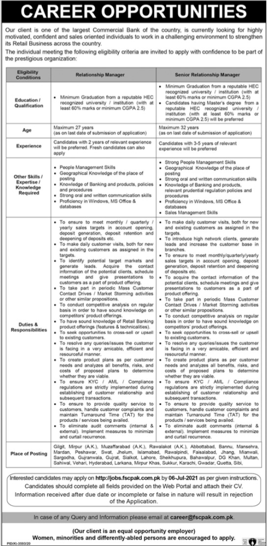 Commercial Bank Jobs 2021 For Relationship Managers