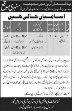 Pak Army BSD Multan Army Service Corps Job 2021 In Multan