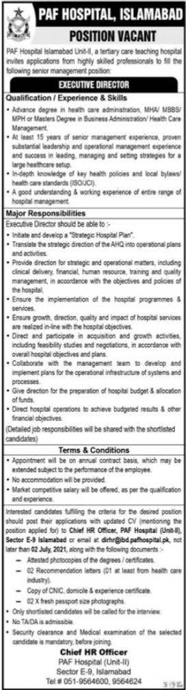 PAF Hospital Job 2021 For Executive Director In Islamabad