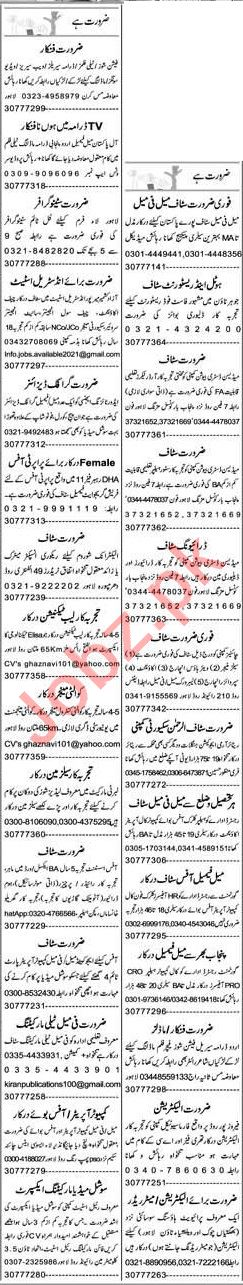 Express Sunday Lahore Classified Ads 27 June 2021