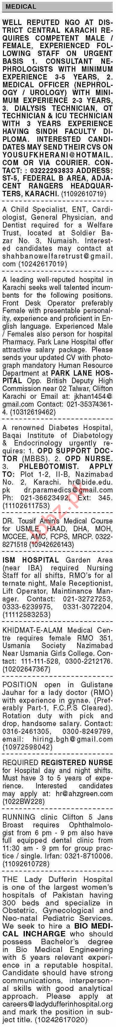 Dawn Sunday Classified Ads 27 June 2021 for Medical Staff