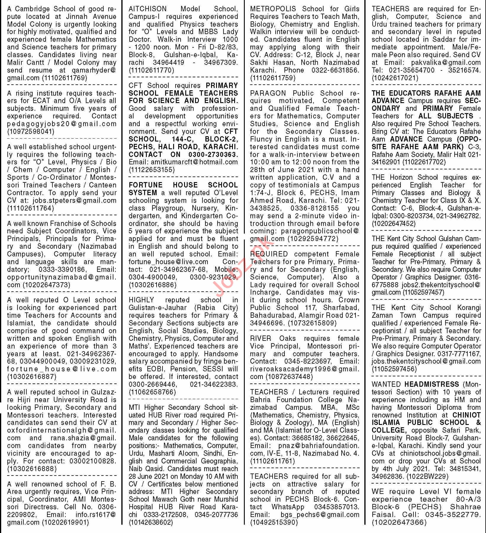 Dawn Sunday Classified Ads 27 June 2021 for Teaching Staff