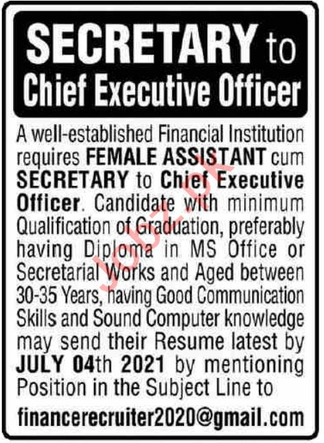 Female Assistant & Chief Executive Officer Jobs 2021