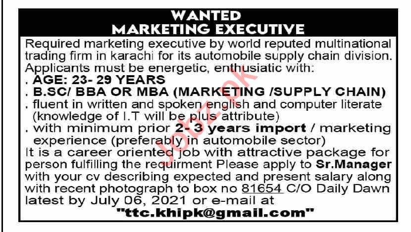 Marketing Executive & Supply Chain Executive Jobs 2021