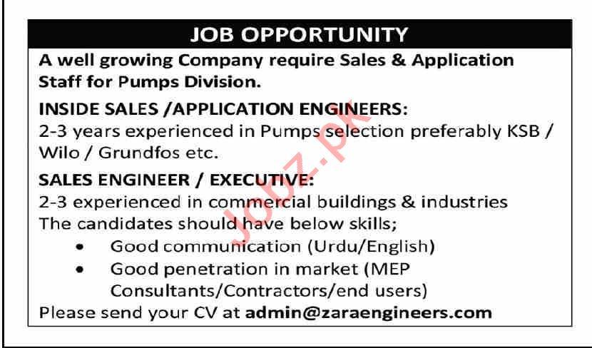 Zara Engineers Karachi Jobs 2021 for Inside Sales Engineer