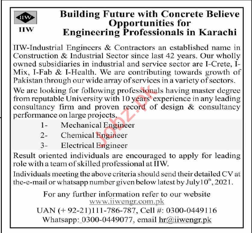 IIW Engineers & Contractors Karachi Jobs 2021 for Engineers