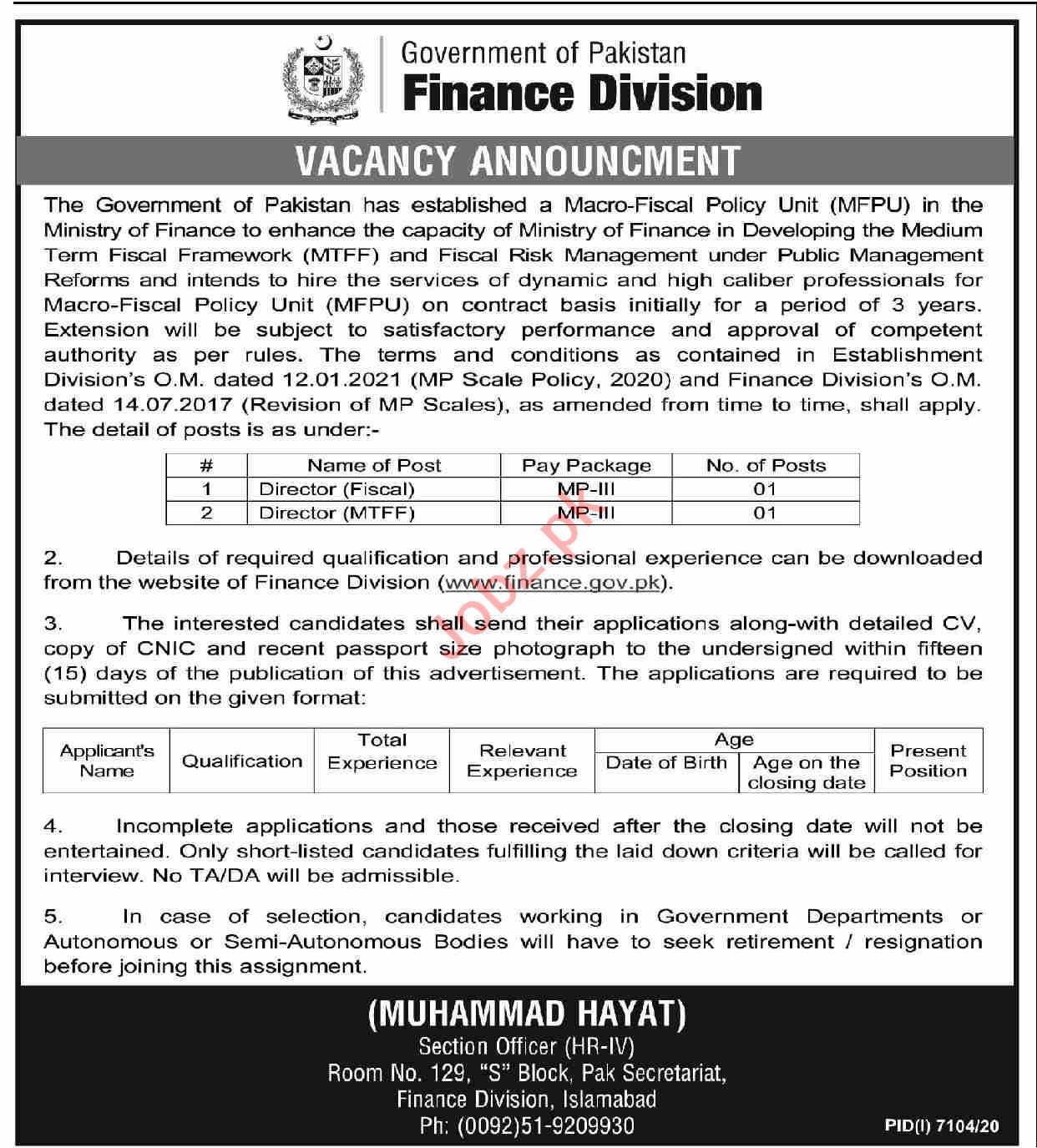 Macro Fiscal Policy Unit MFPU Finance Division Jobs 2021