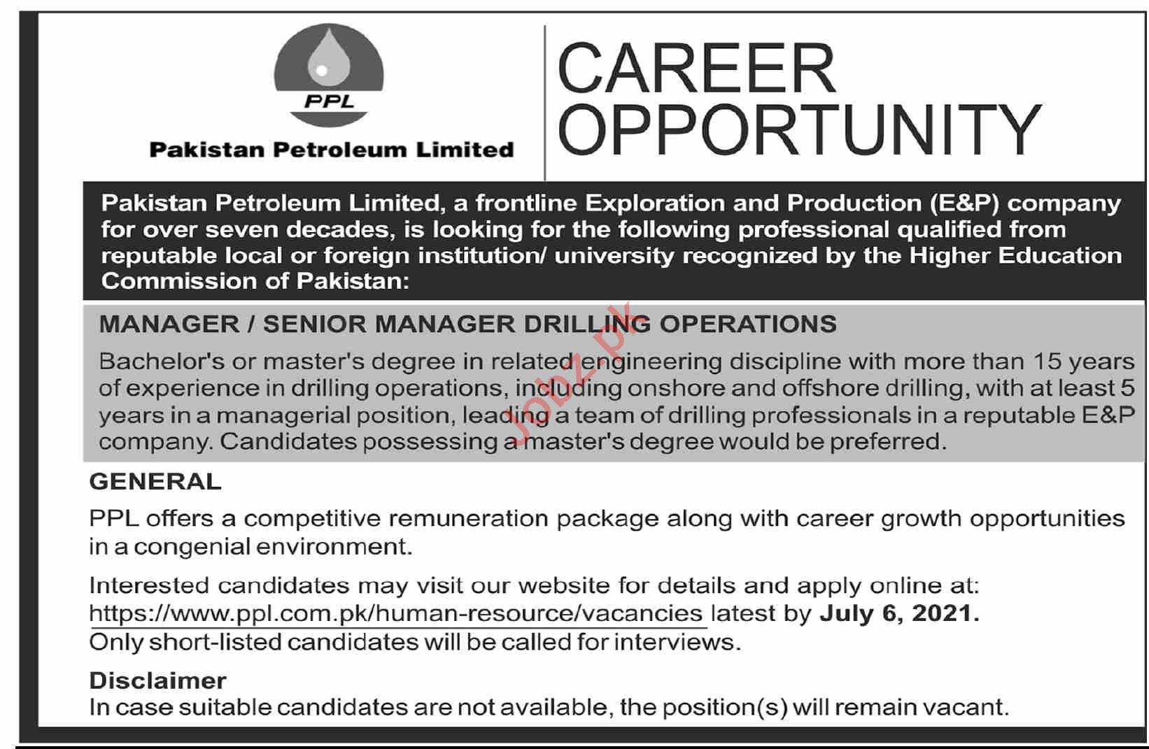Pakistan Petroleum Limited PPL Jobs 2021 for Managers