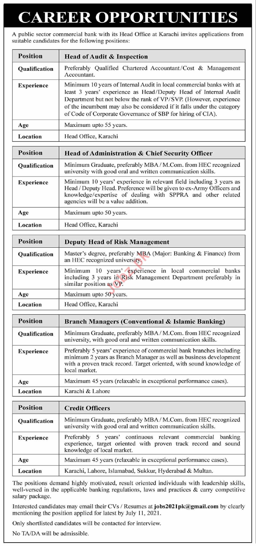 Public Sector Commercial Bank Karachi Jobs 2021