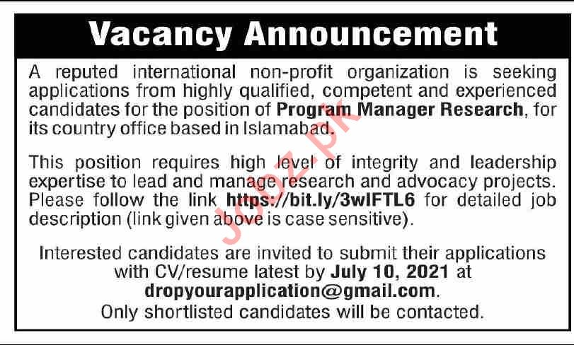 Program Manager Research NGO Jobs 2021 in Islamabad